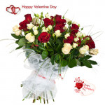 Red N White Bunch - 24 Red & White Roses Bunch & Valentine Greeting Card