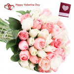 Pink N White Roses - 30 Pink & White Roses Bunch & Valentine Greeting Card