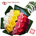 Fifty Lovely Roses - 50 Mix Roses Bunch & Valentine Greeting Card