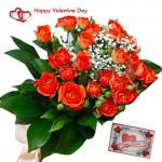 Orangy Delight - 15 Orange Roses Bunch & Valentine Greeting Card