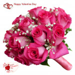 Pinky Valentine - 12 Pink Roses  Bunch & Valentine Greeting Card