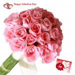Valentine Rose Bunch - 30 Pink Roses  Bunch & Valentine Greeting Card