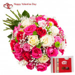 Mix Of Love - 25 Mix Roses Bunch & Valentine Greeting Card