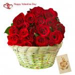 Red Love Basket - 20 Red Roses Basket & Valentine Greeting Card