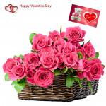 Roses In Basket - 24 Pink Roses Basket & Valentine Greeting Card