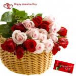 Basket Full Of Love - 20 Red & Pink Roses Basket & Valentine Greeting Card