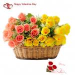 Pink N Yellow Basket - 24 Pink & Yellow Roses Basket & Valentine Greeting Card