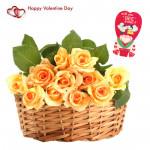 Yellow Love Basket - 18 Yellow Roses Basket & Valentine Greeting Card
