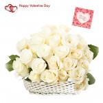White Basket - 25 White Roses Basket & Valentine Greeting Card