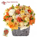 Mix Rose Basket - 24 Mix Roses Basket & Valentine Greeting Card