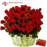 Fifty Red Roses - 50 Red Roses Basket & Valentine Greeting Card