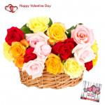 Mix Love Basket - 18 Mix Roses Basket & Valentine Greeting Card