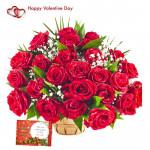 Basket Red Rose - 30 Red Roses Basket & Valentine Greeting Card