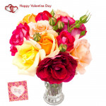 Mix Vase - 12 Mix Roses Vase & Valentine Greeting Card