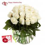White Vase - 15 White Roses Vase & Valentine Greeting Card