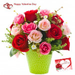 Red N Pink Vase - 15 Red & Pink Roses Vase & Valentine Greeting Card