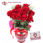 Rose Vase - 15 Red Roses Vase & Valentine Greeting Card