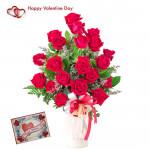 Fifty Rose Vase - 50 Red Roses Vase & Valentine Greeting Card