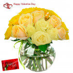 Yellow Rose Vase - 24 Yellow Roses Vase & Valentine Greeting Card