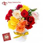 Mix Vase Roses - 18 Mix Roses Vase & Valentine Greeting Card