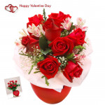 Ten Red Roses - 10 Red Roses Vase & Valentine Greeting Card