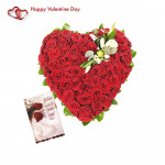 Hundred In Heart - Heart Shaped Arrangement 100 Red Roses & Valentine Greeting Card