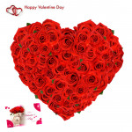 Fifty Floral Heart - 50 Red Roses Heart Shaped Arrangement & Valentine Greeting Card