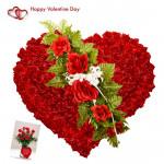 Royal Heart Arrangement - 150 Red Roses Heart Shaped Arrangement & Valentine Greeting Card