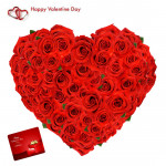 Love Rose Heart - 75 Red Roses Heart Shaped Arrangement & Valentine Greeting Card