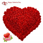 Double Century Heart - 200 Red Roses Heart Shaped Arrangement & Valentine Greeting Card