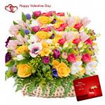 Mix Big Flowers - 100 Assorted Flowers Basket & Valentine Greeting Card