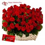 Red Basket Of Love - 100 Red Roses Basket & Valentine Greeting Card
