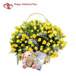 """My Love For You - 100 Yellow Roses Basket, Teddy 6"""" & Valentine Greeting Card"""