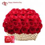 Red Roses Basket - 200 Red Roses Basket & Valentine Greeting Card