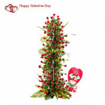 Moments Of Love - 150 Red Roses Arrangement Of 4 Feet & Valentine Greeting Card
