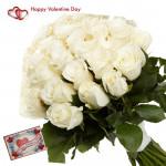 White Rose Love - 100 White Roses & Valentine Greeting Card