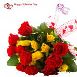 Red N Yellow - 24 Red And Yellow Roses & Valentine Greeting Card