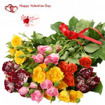 Sixty Flower Bunch - 60 Mix Roses Bunch & Valentine Greeting Card & Valentine Greeting Card