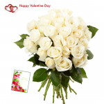 Fifty White Roses - 50 White Roses Bunch & Valentine Greeting Card & Valentine Greeting Card