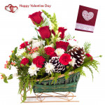 Sweet Sixteen - 6 Red Roses With 10 White N Red Carnations Basket & Valentine Greeting Card
