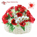 Roses N Glads - 30 Red Roses With White Glads Basket & Valentine Greeting Card