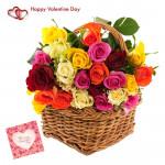 Roses Mix Basket - 50 Mix Roses Basket & Valentine Greeting Card
