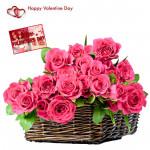 Basket Of Pink - 25 Pink Roses In Basket & Valentine Greeting Card