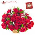Rose Basket - 75 Red Roses In Basket & Valentine Greeting Card