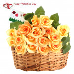Lovely Yellow Basket - 25 Yellow Roses Basket & Valentine Greeting Card