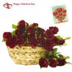 Basket Full Of Roses - 21 Red Roses Basket & Valentine Greeting Card & Valentine Greeting Card
