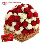 Theme Of Fourteen - 14 Red & 14 White Roses Basket & Valentine Greeting Card