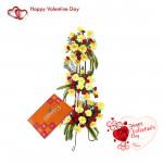 Life Of Love - 30 Red Gerberas & 40 Yellow Carnations, Cadbury's Celebration 118 Gms & Valentine Greeting Card