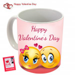 Happy Valentines Day with Smiley Mug & Valentine Greeting Card