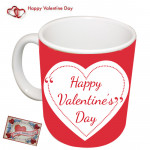 Happy Valentine's Day in Heart Mug & Valentine Greeting Card